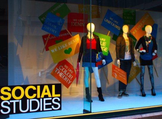 "Window display from Macy's, back-to-school-theme ""Social Studies,"" mannequins sporting colorful fall fashion; photo © Doug Hovelson 2012"