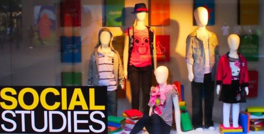 Window display of fall fashion theme, Social Studies, kids fashions, at Macy's Department Store in downtown Minneapolis