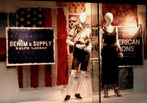 American flag is part of the American Icons - Ralph Lauren display at Macy's