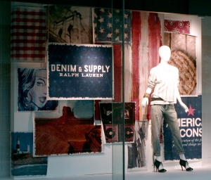 Denim is iconic style featured in Macy's window display.